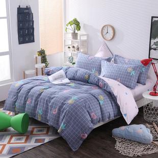 春夏款100%纯棉四件套正品 全棉印花被套 床单款床上用品