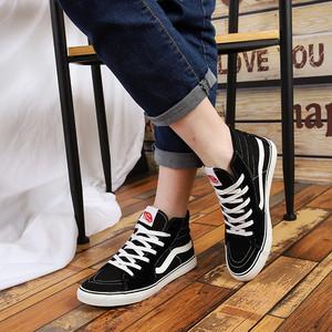 男生韩版潮流运动休闲鞋男潮鞋青少年百搭鞋子高帮帆布鞋男青年高