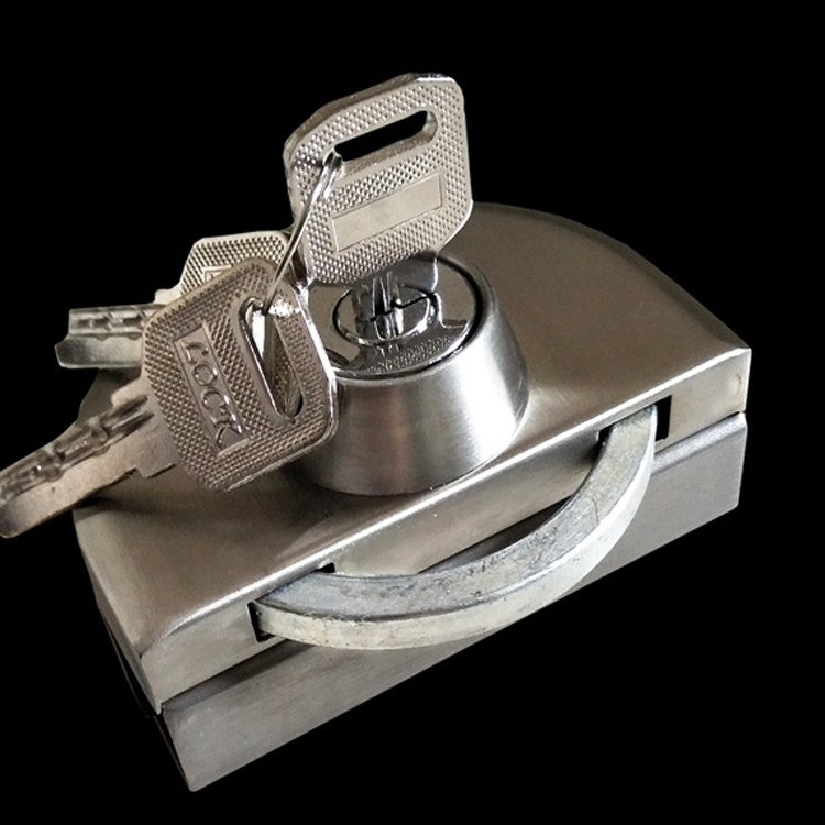Glass door lock free central hole stainless steel thick sliding door lock with glass frameless glass single door lock