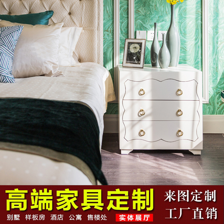 What makes the new American classical bedroom double fabric bed villa model of the housing sales offices in Hong Kong Style Light luxury master bedroom furniture