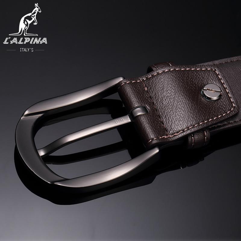 イタリアLALPINAカンガルー針ボタンメンズ牛皮靑年カウボーイ個性ベルトカジュアルファッションベルト