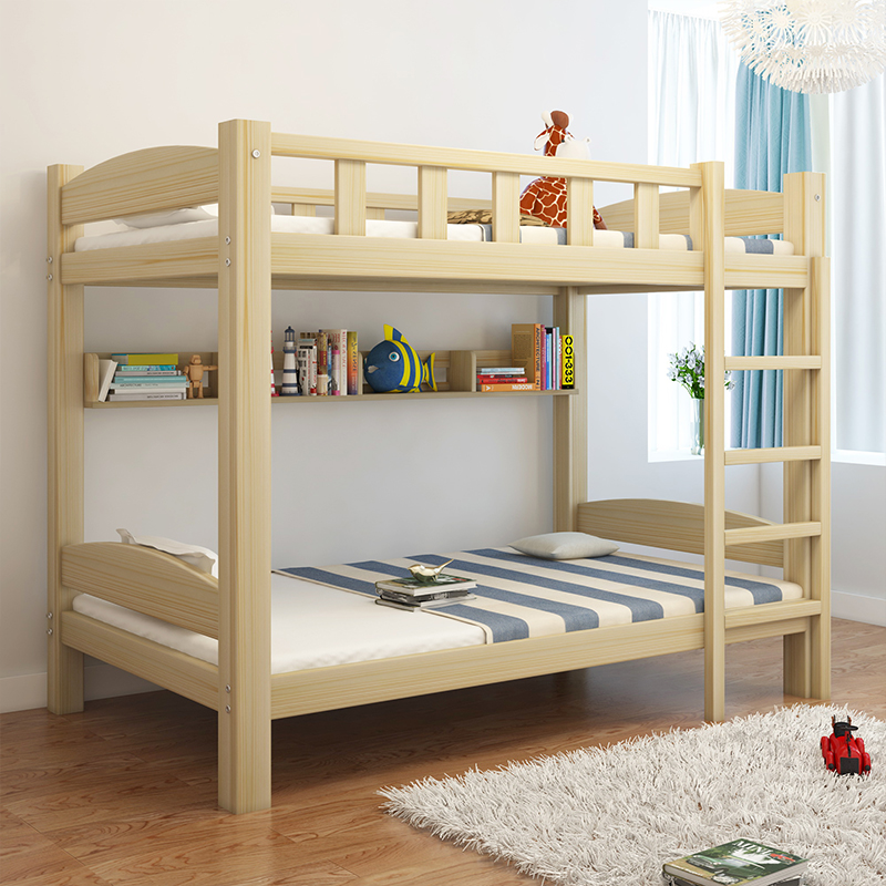 Solid wood bed dormitory bed level of children's mother bed multifunctional double bed bed simple adult pine