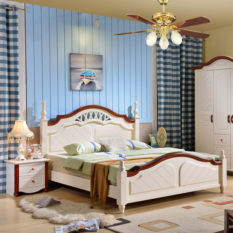 All solid wood oak bed, skin bed, princess bed, double bed, 1.51.8 meters, modern white double bed furniture
