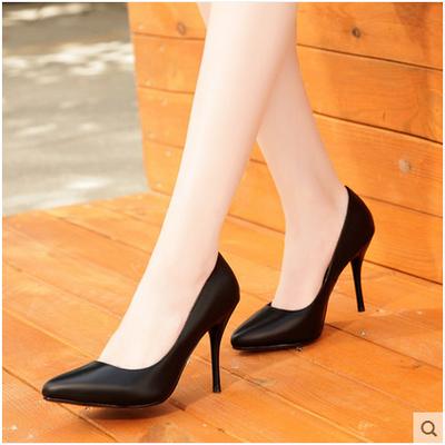 2017春季新款尖头女鞋大码职业工作黑色正装高跟鞋单鞋中跟小码33