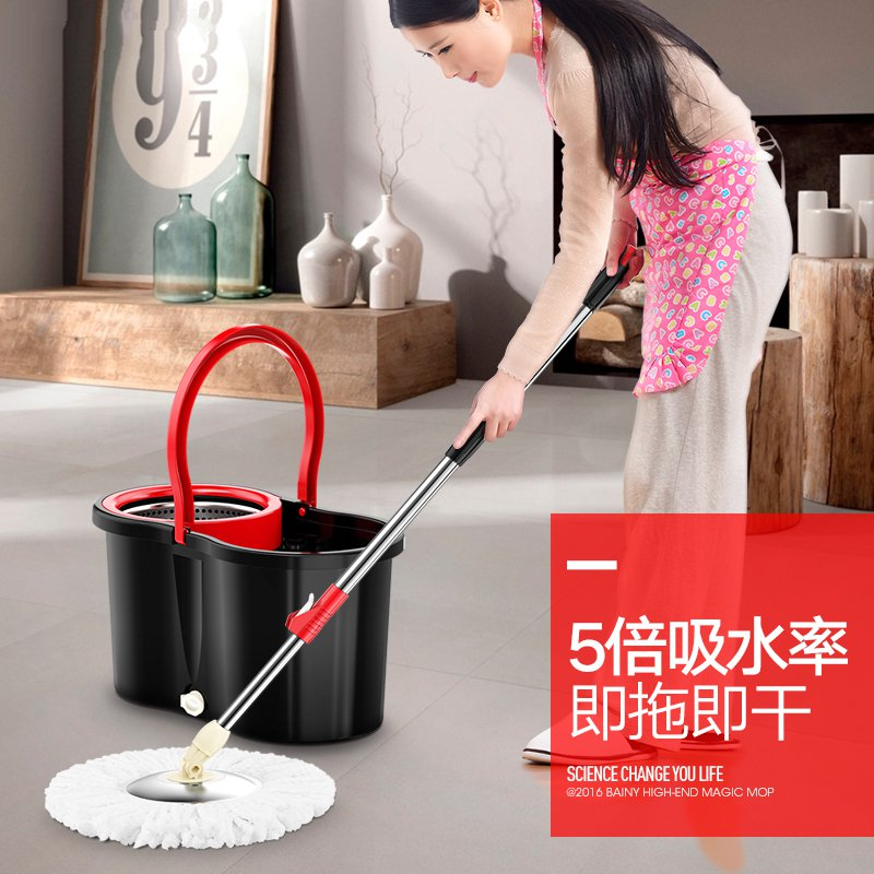 Saving rotary mop bucket automatic dry mop to mop miaojie stainless steel haoxifu increase thickening