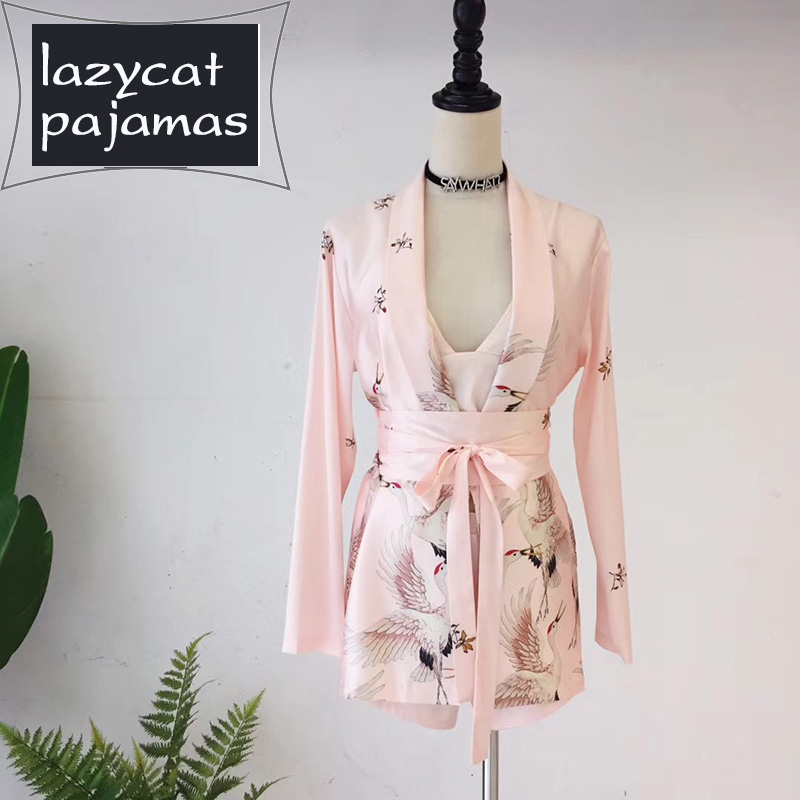 Silk pajamas female sexy wearing long sleeved suit autumn fresh ice silk silk Xianhe girl sijiantao