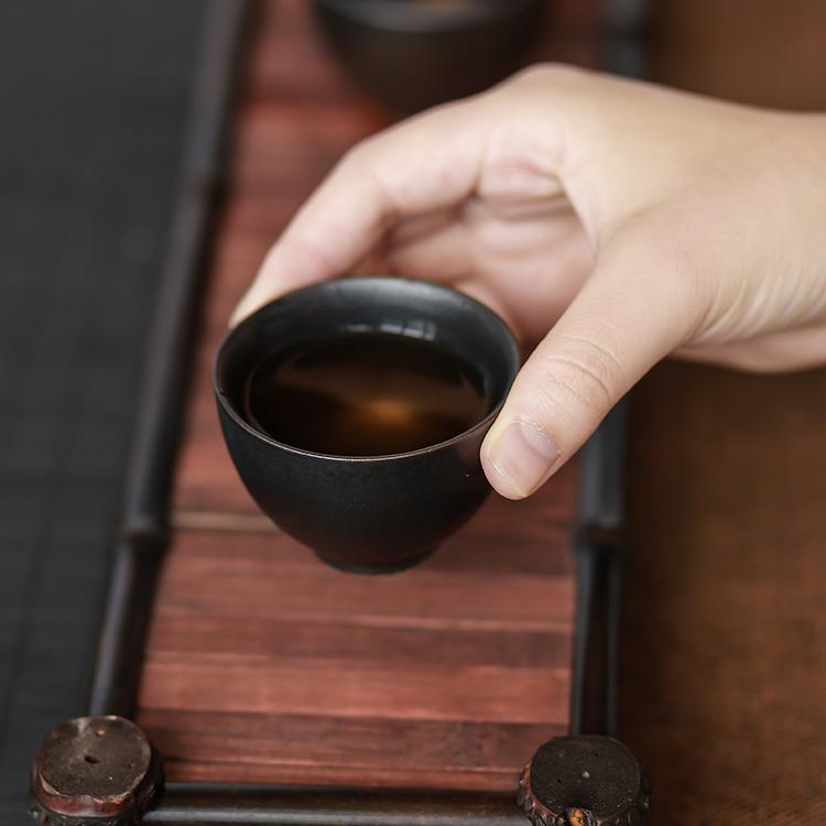 銅綠致茗堂 窯變粗陶品茗杯 普洱個人杯 日式禪意陶瓷功夫茶杯主人杯