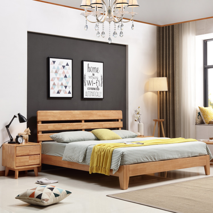 Nordic solid wood beds, oak beds, 1.8 meters, double 1.5 simple Japanese style small bedroom furniture