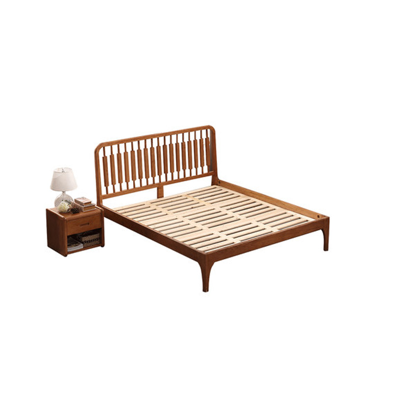 Nordic solid wood master bedroom, marriage bed, log soft, simple modern furniture, pure Japanese double bed 1.5m1.8 meters