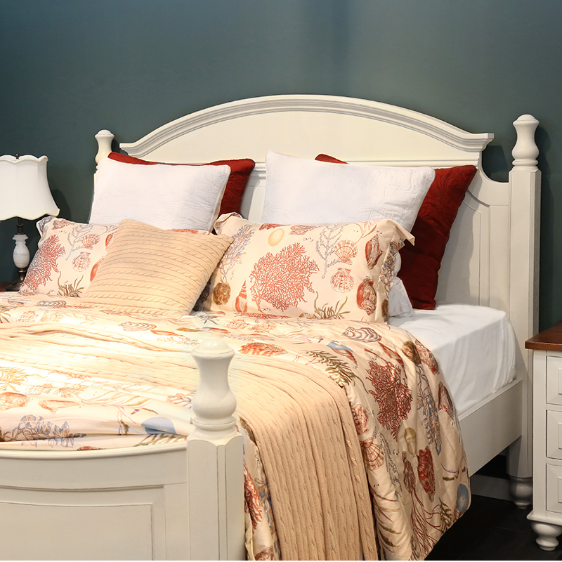 American country white do old solid wood log bed Nordic simple modern 1.5/1.8 meters double marriage bed furniture