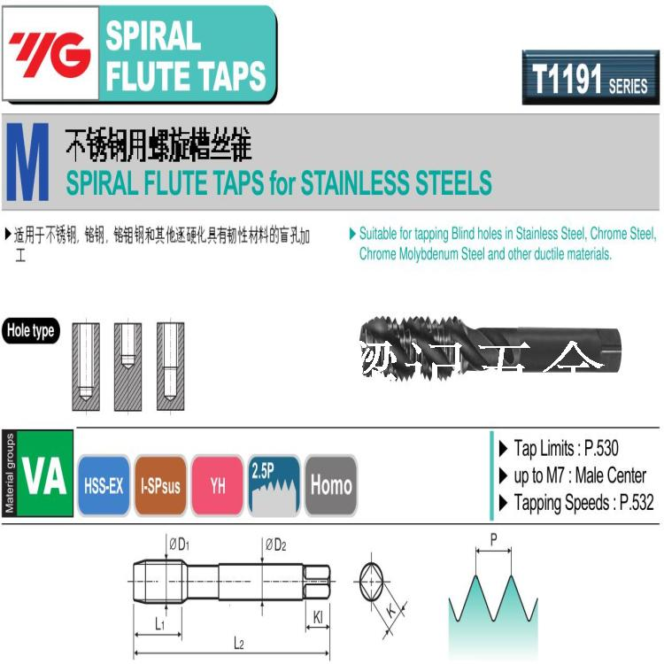YG taps, HSSEX oxidation spiral groove taps, M16*2.0/M18 stainless steel taps, blind hole wire tapping
