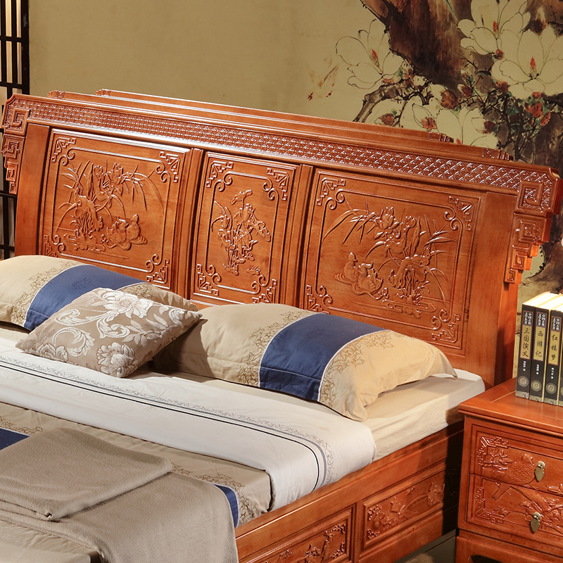 New Chinese style all solid wood bed, imitation mahogany bed, oak bed, classical bedroom furniture, Chinese wedding bed, carved double bed