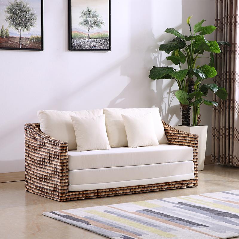 酷藤藤 καναπέ - κρεβάτι 1,5 m πτυσσόμενου σε ψάθινα ο καναπές κρεβάτι σαλόνι διπλό πλέγμα τατάμι.