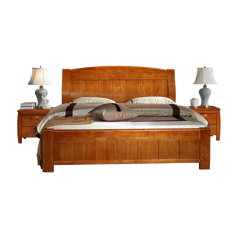 Solid wood bed, master bedroom, double bed, 1.8 meters, single bed, 1.5 meters, simple modern Chinese economy type high box storage bed