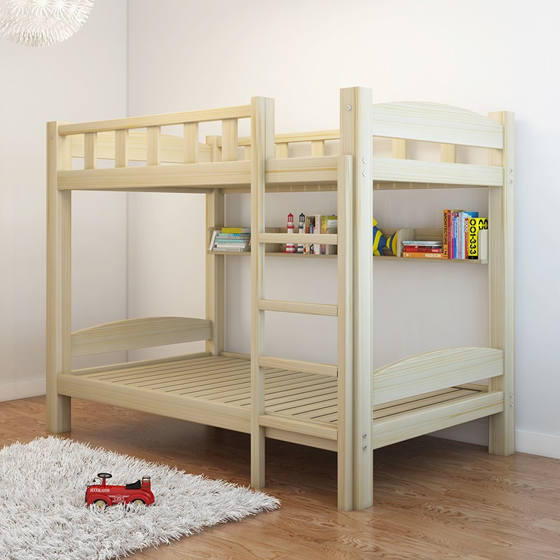 Twin boy multifunctional wood wood solid wood furniture, mother and child bunk bed combination bed