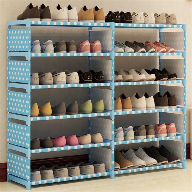 رف الأحذية رفوف الغبار خاصة الطبقات الاقتصادية المنزلية البسيطة ميني الفضاء خزانة الأحذية الخيزران مقاطعة