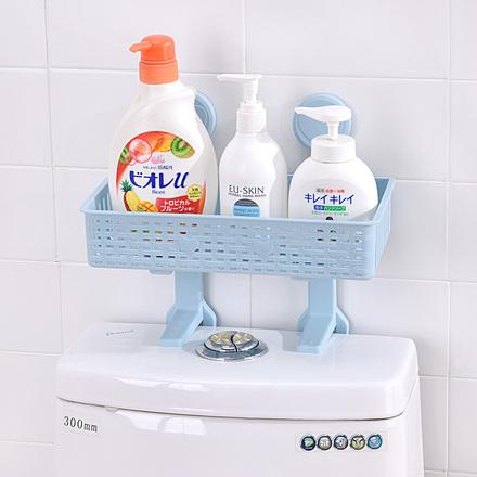 猫家 免打孔浴室置物架壁挂卫生间用品吸壁式厕所马桶塑料收纳架