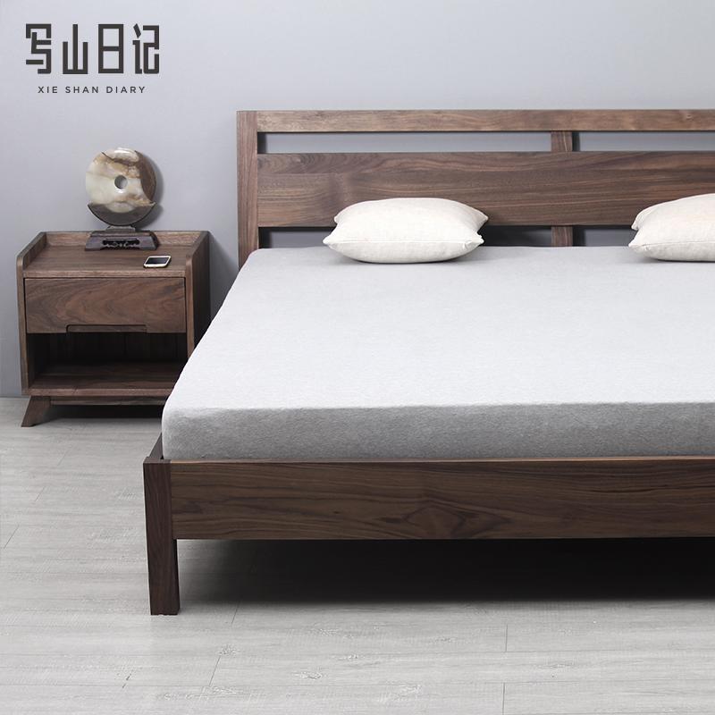 The black walnut wood furniture red oak wood bed double bed double bedroom modern minimalist style eleven