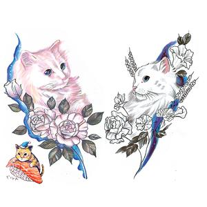 西街Girl 一套六张独家发布原创新品 粉猫咪 梅花鹿 花瓣 纹身贴