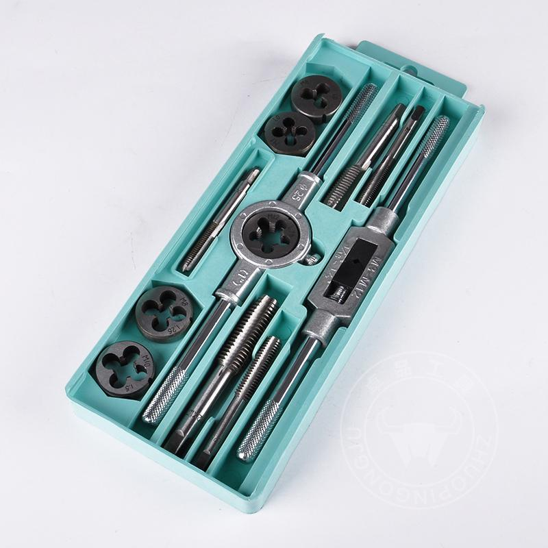 Tap and die set hardware tools hand tapping wrench diestock metric screw set