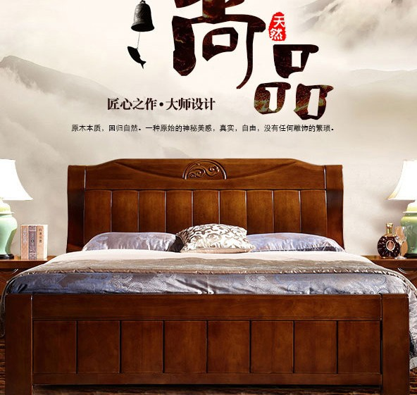 All solid oak wooden furniture bright Chinese 1.5 meters 1.8 meters high double storage box bed air bed white