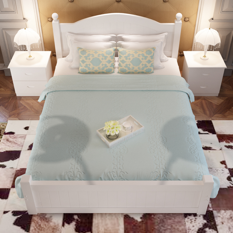 Solid wood bed bed 1.5 meters 1.8 meters of white pine tatami bed bed bed single bed double bed with Tuochuang adults
