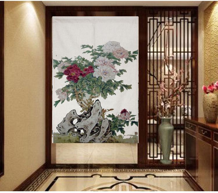 hjem stof gardin bomuld blomst peony rose mønster af feng shui soveværelse isoleret gardin gardin gardin semi - skik logo