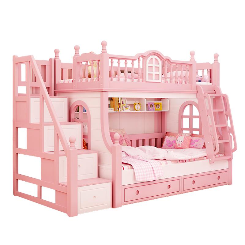 En los niños, la cama de madera maciza, rosa del Castillo de la niña de la cama cama doble de la altura de la cama y la cama de la hermana