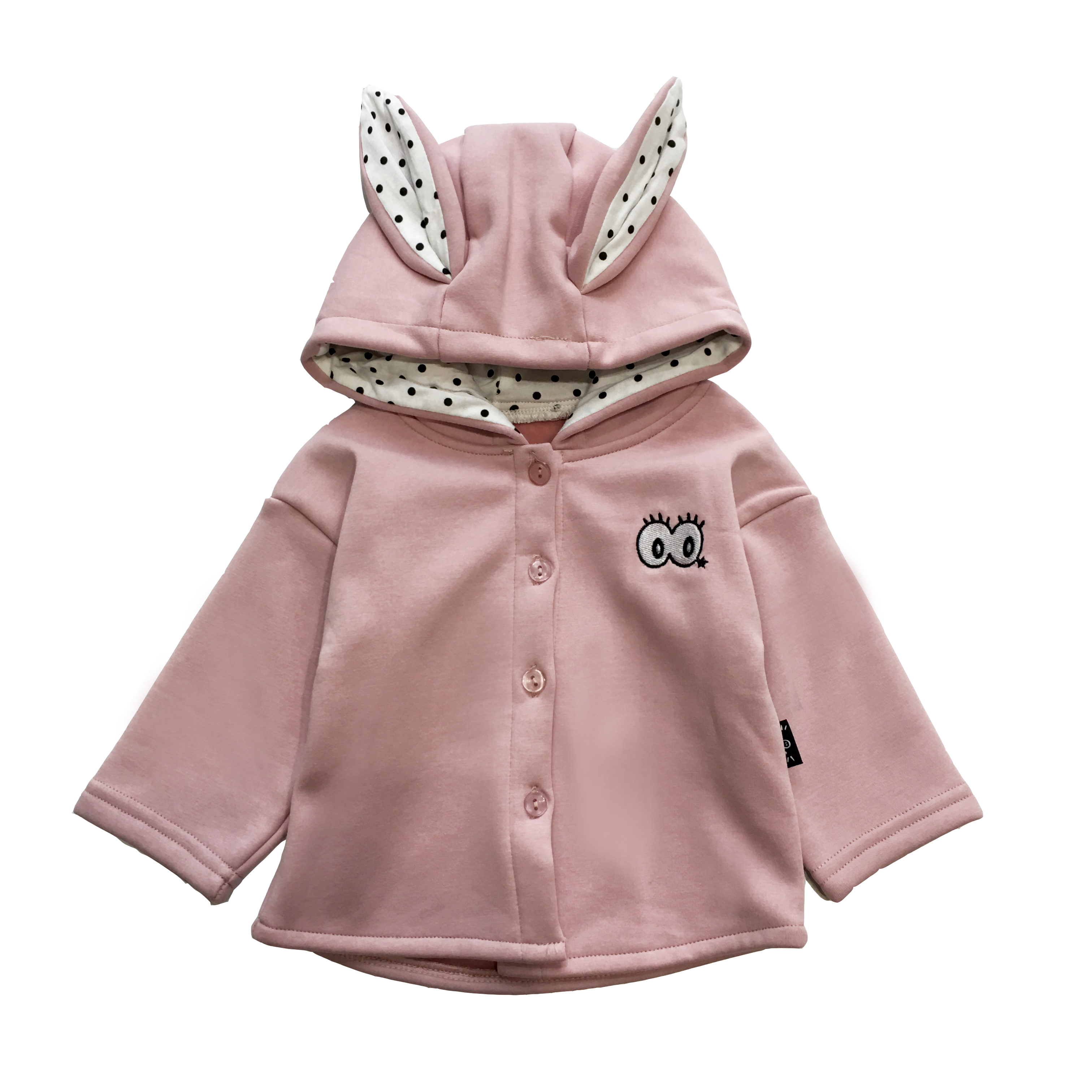 LUSON mom and baby infant and children's wear velvet jacket winter girl baby rabbit ears Cardigan Jacket Coat Jacket
