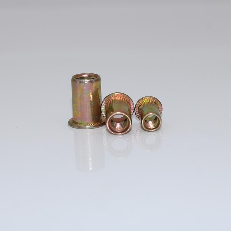 GB / T17880.1-1999 pan de nueces de remaches m3m4m5m6m8m10m12 color de zinc Moleteado tira de la columna