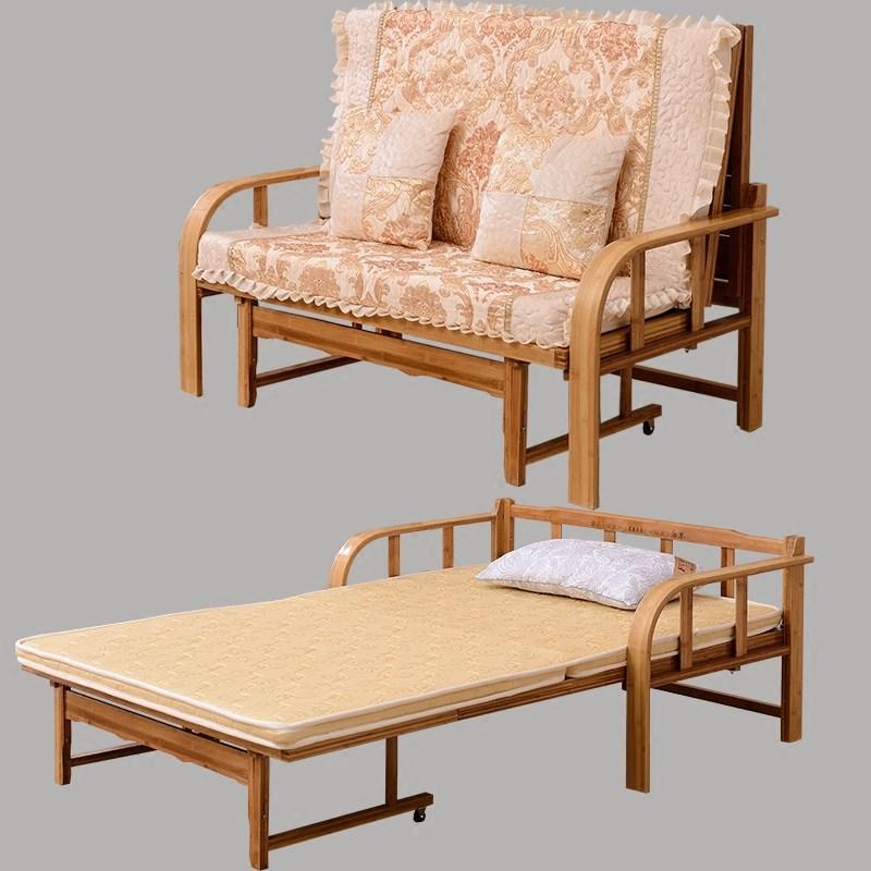 Το μικρό μέγεθος του καναπέ - κρεβάτι πτυσσόμενο κρεβάτι πολυλειτουργική ξύλινα 1,5 μπαμπού σαλόνι ύφασμα ξηλώσω διπλό ένταση 1,8 m