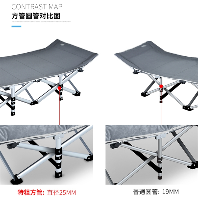 Outdoor simple portable folding bed, beach camping bed, indoor accommodation, lazy lunch, octagonal bed bed