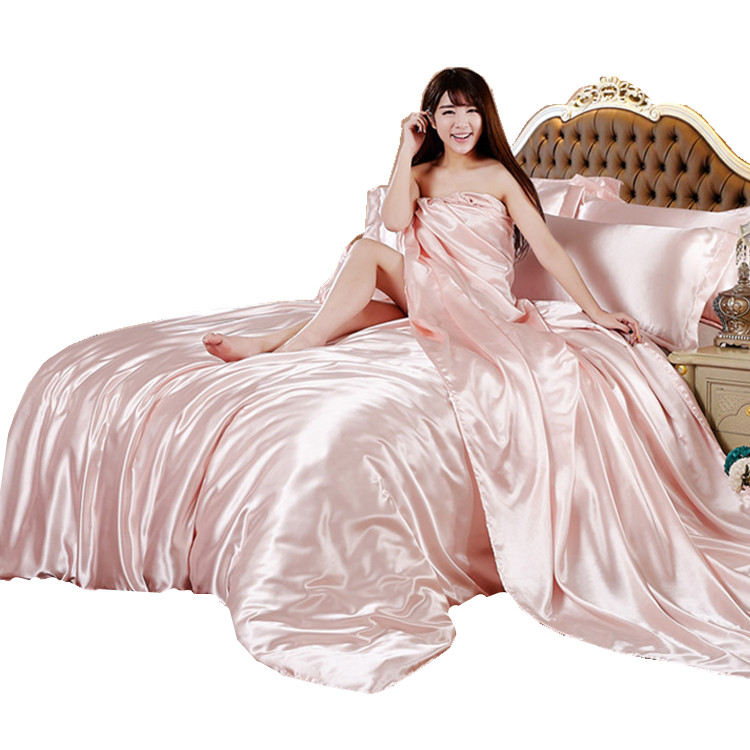 In the summer of 4 sets of four pure Tencel ice silk double quilt sheets naked wedding 1.8 meters red bed