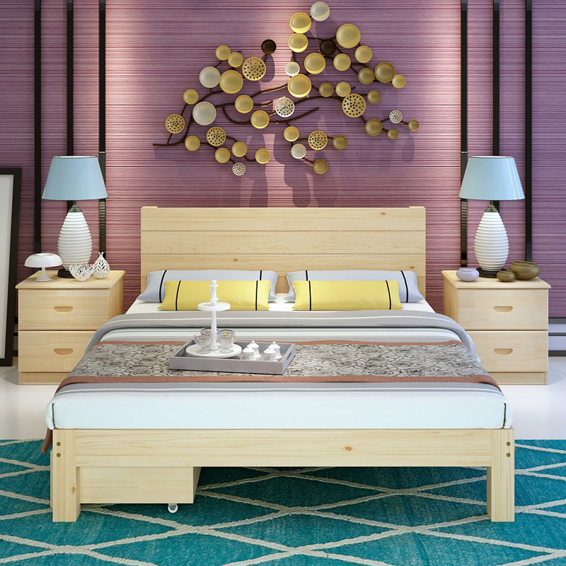 Pine wood bed tatami bed 1 meters 1.51.8 meters double adult single bed for children to bed 1.2m