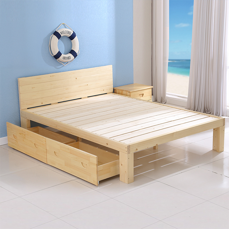 A simple pine wood bed double bed 1.5 meters 1.8 meters 1 meters 1.2 meters of simple children bed single bed