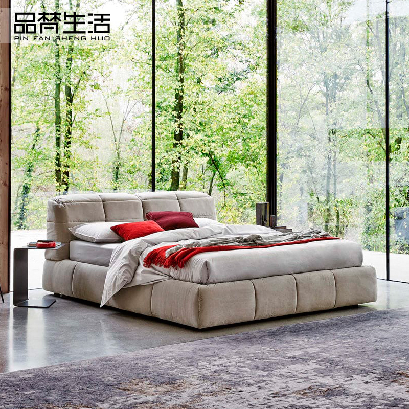 Minimalist Scandinavian fabric bed 1.8 meters double Zhuwo storage cloth bed large-sized apartment washable soft modern marriage bed
