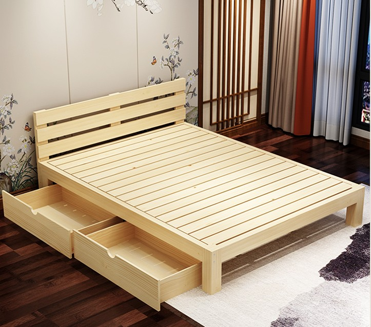 Solid wood bed frame, log color solid wood bed size, solid wood bed, 1 sets of economy 1.8 meter bed girl