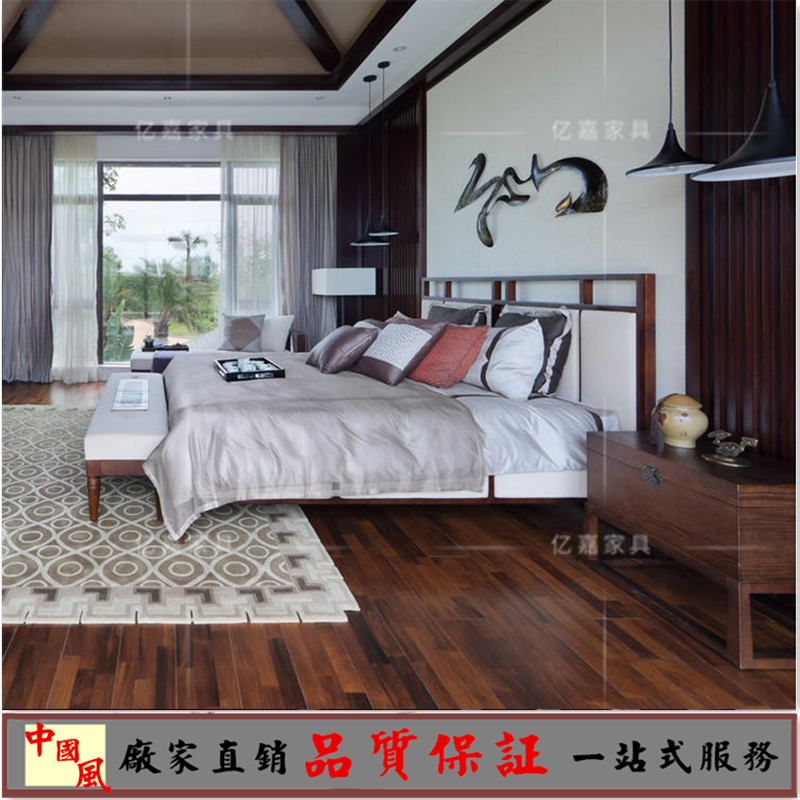 The new Chinese modern minimalist Zen bed bedroom bed model room hotel wedding custom double bed