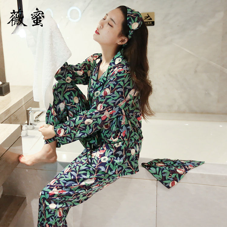 2017 new autumn foreign trade clothing, silk like pomegranate flowers, women's pajamas long sleeved suit, four pieces of goggles