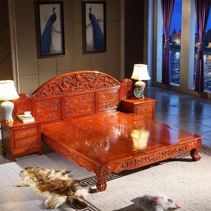 Carved all solid wood bed, 1.8 meters double master bedroom furniture, Ming and Qing Dynasties classical oak, Chinese antique imitation mahogany marriage room