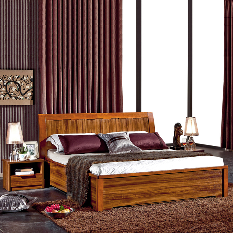 Modern Chinese solid wood bed double bed, 1.51.8 meter bed, high box storage bed, wedding bed oak