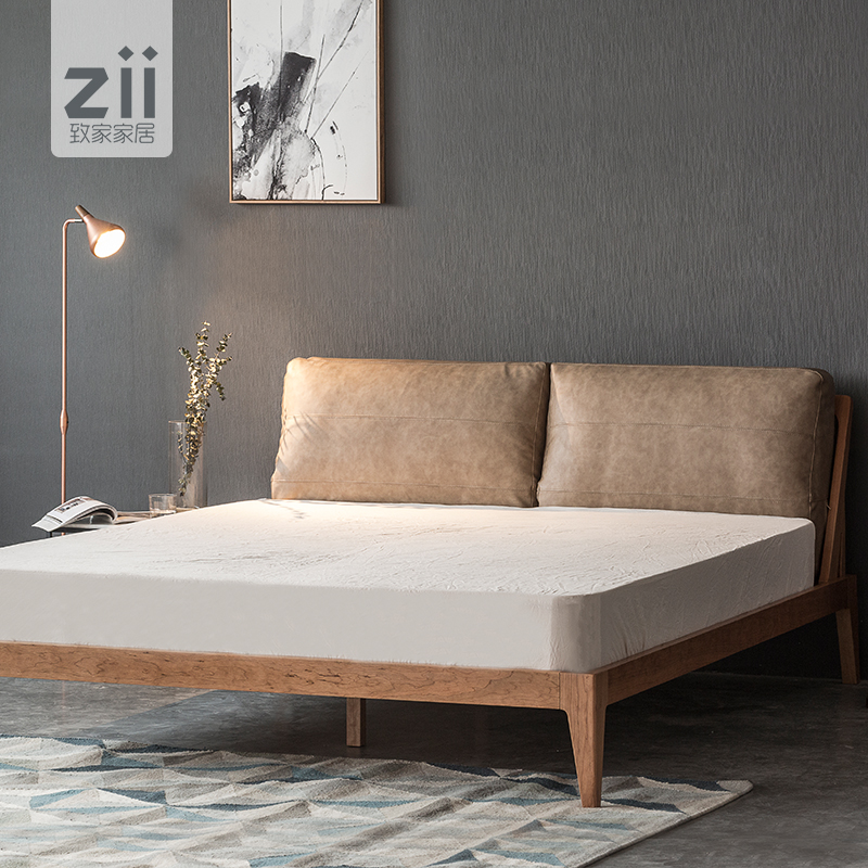 Smart home / white bed / modern Nordic imported solid wood bed soft back bedroom bed simple bed