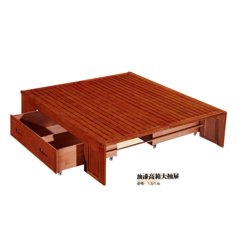 Solid wood bed, 1.8 meters double bed, simple modern Chinese high box bed, storage air pressure bed, oak color, rich red