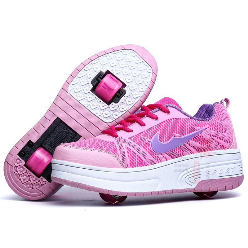 Trẻ em giày 轱 giày reel cậu bé con trai với con trai trong runaway con ròng rọc con giày học sinh tiểu học với đôi giày của trẻ em có vòng
