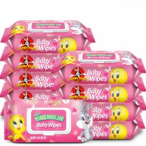 婴儿湿巾新生儿手口专用屁宝宝婴幼儿湿纸巾100*10大包带盖不连抽