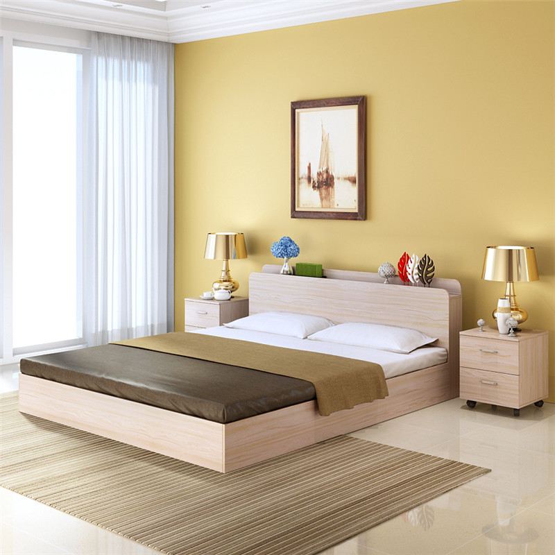 About pine wood single bed double bed frame 1.5 meters 1.8 meters without wood tatami bed