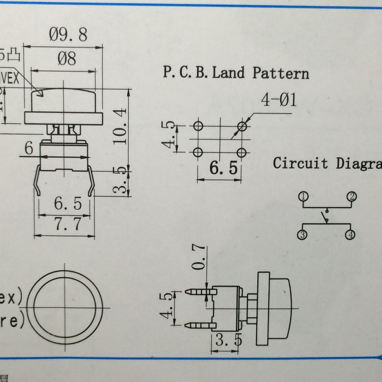 L'insertion de 4 pieds touche le panneau de commutation un bouton de Réinitialisation 6 * 6 circulaire de diamètre à hauteur de 10 mm à 8 touches bleu