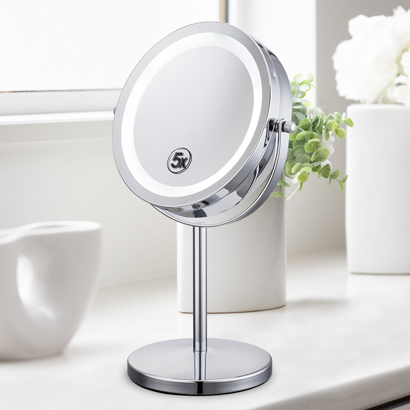 European and American high grade 7 inch LED make-up mirror desktop with double face hairdressing high definition magnification of 10 times battery