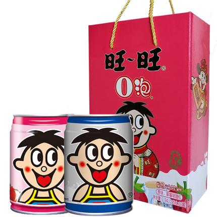 旺旺旺仔牛奶O泡果奶铁罐装原味+草莓味组合245ml*12大瓶整箱饮料