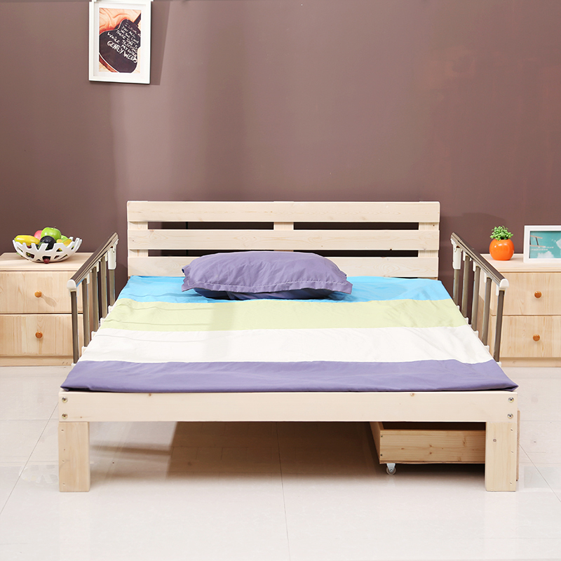 Solid wood children's bed with guardrail, single bed, double bed, old bed, princess bed, splicing bed, baby bed, child bed